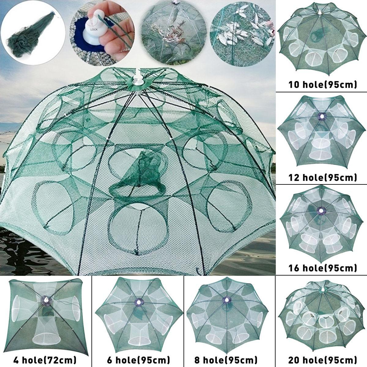 Foldable Fishing Net Shrimp Cage Crab Fish Cast Mesh Trap 8 Sides 8 Holes