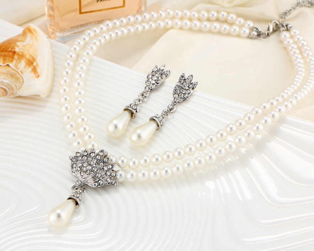 Avrupa ve amerikan takı gelin inci kristal kısa köprücük kemiği boyun kolye seti küpe kore versiyonu mizaç
