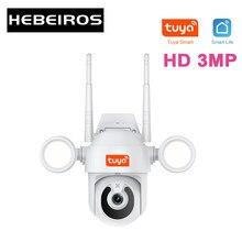 Hebeiros hd 3mp tuya inteligente movimento de rastreamento automático ip66 à prova dwaterproof água ao ar livre projector cor visão segurança cctv ip ptz wi fi câmera