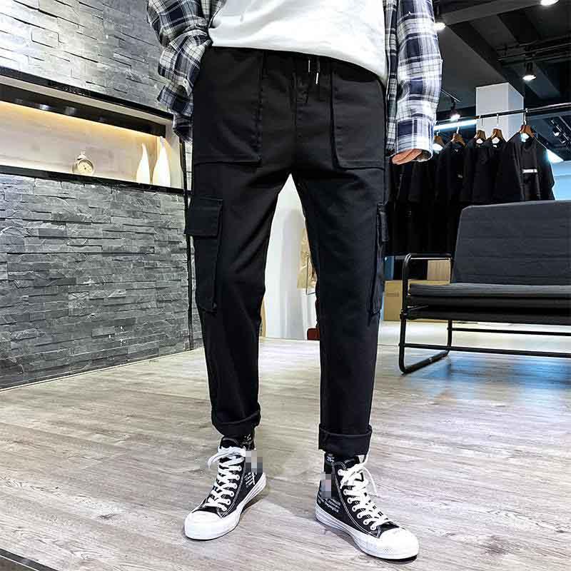 Men Cargo Pants Male Full Pants Casual Japan Style Side Pocket Jogger Pants Multi Pocket Harem Hip Pop Trousers Casual Fashion