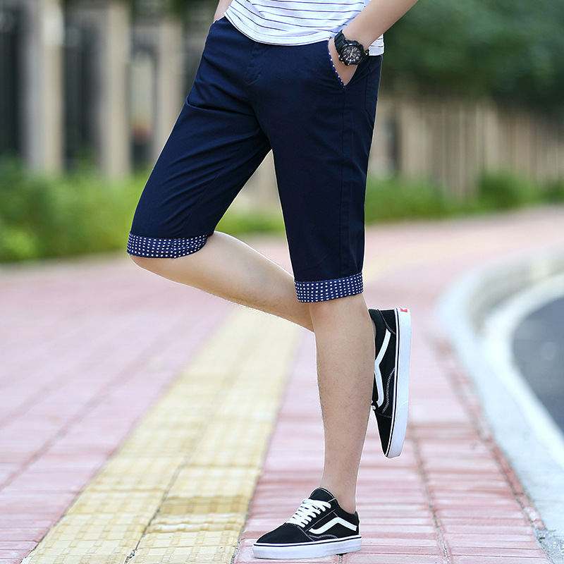 Cropped Trousers For Men Summer Youth Fashion Casual Shorts Pure Cotton Straight-Cut Thin Beach Shorts Fashion