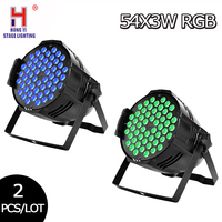 Led par 54x3w RGB 3in1 with DMX512 for club disco dj Sound Activated stage light Lumiere Christmas projector dj club 2pcs/lot