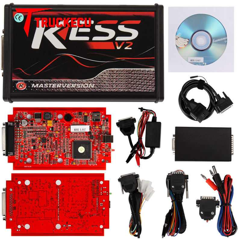KESS V2 V2.47 V5.017 ue czerwone tytanowe ecm KTAG V2.25 V7.020 4 LED Online wersja główna BDM rama ECU OBD2 samochód/ciężarówka programista