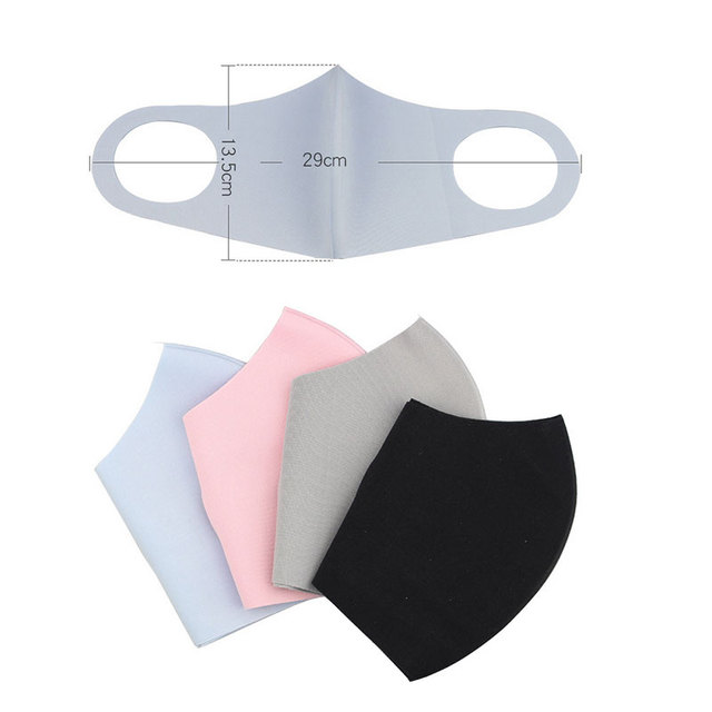 1Pc New Washable Earloop Mask 3D Ice Silk Cotton Cycling Washable Anti Dust Filter Mouth Face Mask Care Respirator For Summer 4