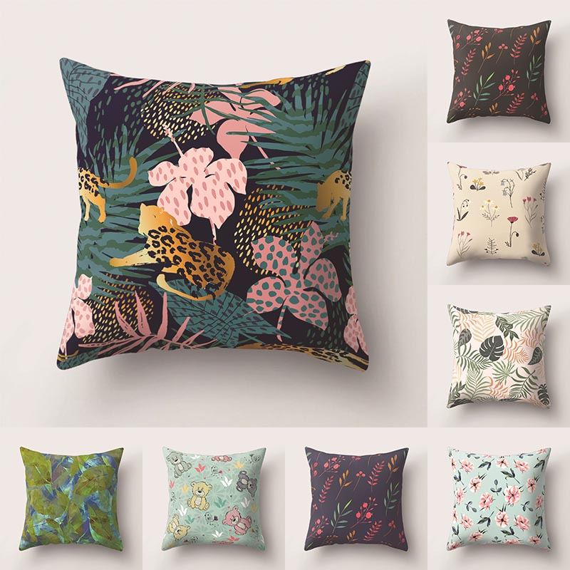 Pillowcase Plant Printed Cushion Cover 45*45 Sofa Cushions Pillow Cases Polyester Home Decor Pillow Covers Kd-0101