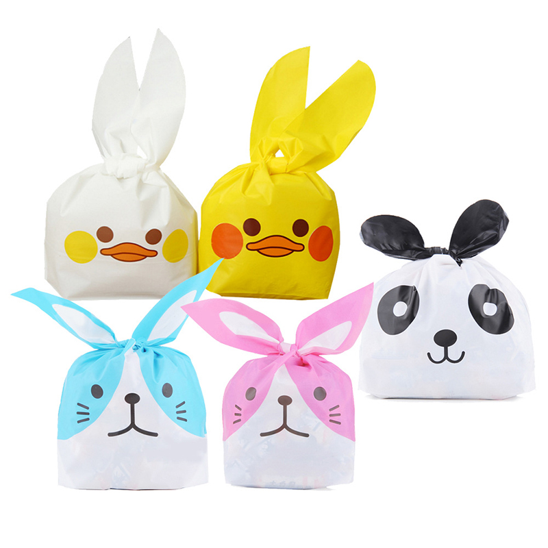 50pcs Cute Long Bunny Rabbit Ears Gift Bag Children Candy Bag Easter Candy Gift Set Party Favors Cookie Snack Birthday Decor