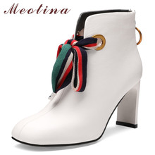 Meotina Autumn Ankle Boots Women Natural Genuine Leather Block High Heels Short Boots Zipper Square Toe Shoes Ladies Size 33-40 цена и фото