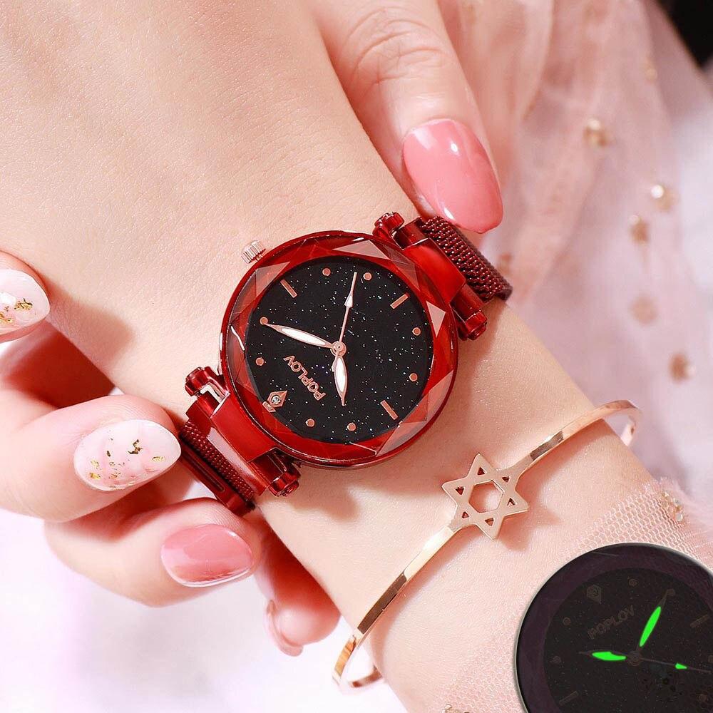 Starry Sky Women Watches Quartz 2019 Luminous Gem Cut Flower Mirror Ladies Watches Minimalist Magnetic Relogio Feminino Luxury