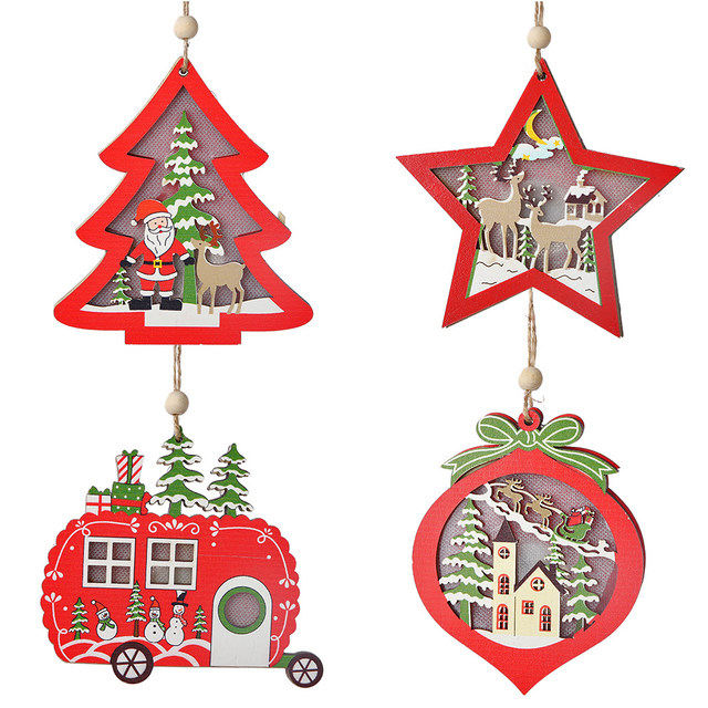 Creative Led Light Christmas Tree Hanging Pendant Star Car Heart Wooden Ornament Decoration Shine Romantic New Year Ornaments 18