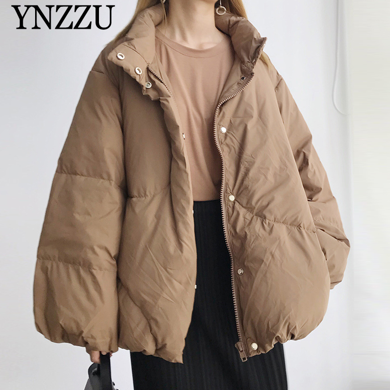 2019 Winter Lantern Sleeve Women Down Jacket Camel High Collar Female Short Down Coat Oversize Casual Chic Outwear YNZZU YO988
