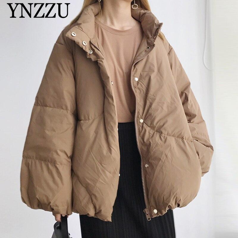 2019 di Inverno del manicotto Della Lanterna Delle Donne Imbottiture giacca di Cammello di Alta del collare Femminile Breve Imbottiture cappotto Oversize casual Chic Outwear YNZZU YO988