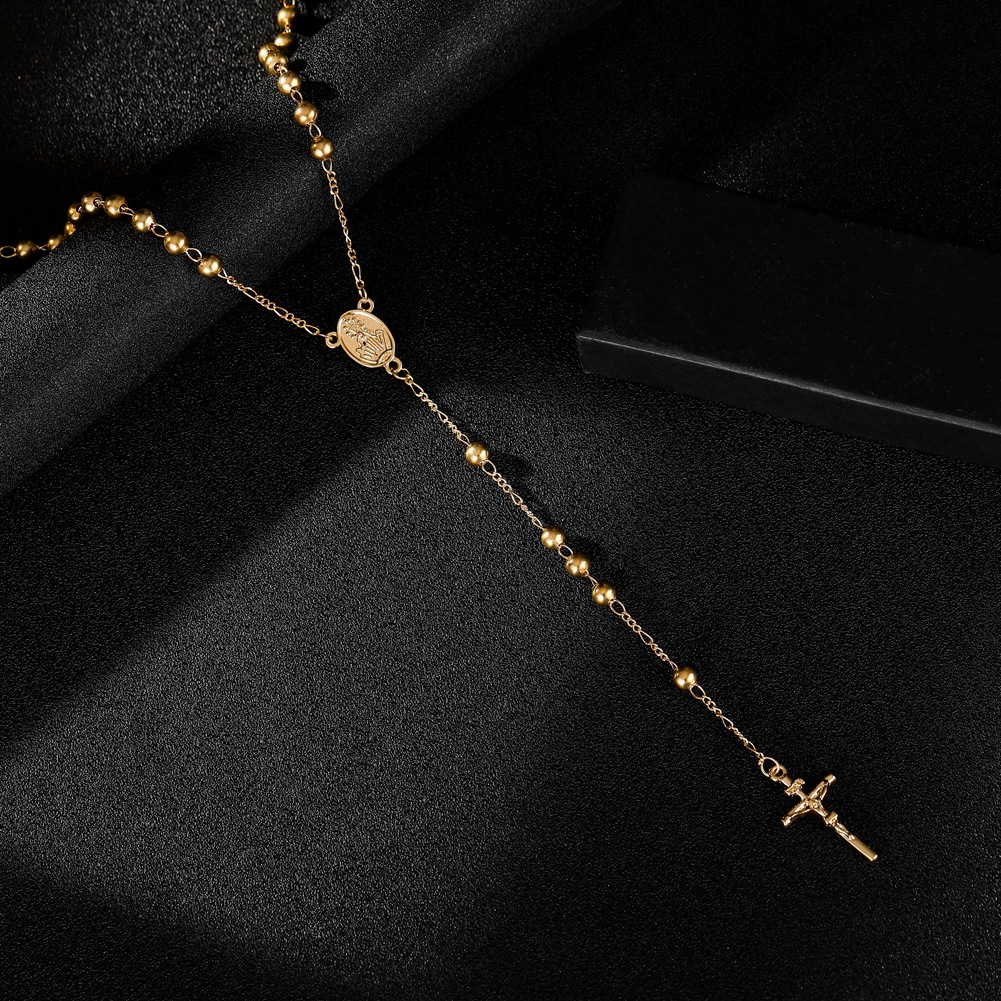 BUDROVKY New Fashion Gold Color Cross Necklace Pendants For Women Stainless Steel Prayers Chain Necklace Rosary Jewelry Gift
