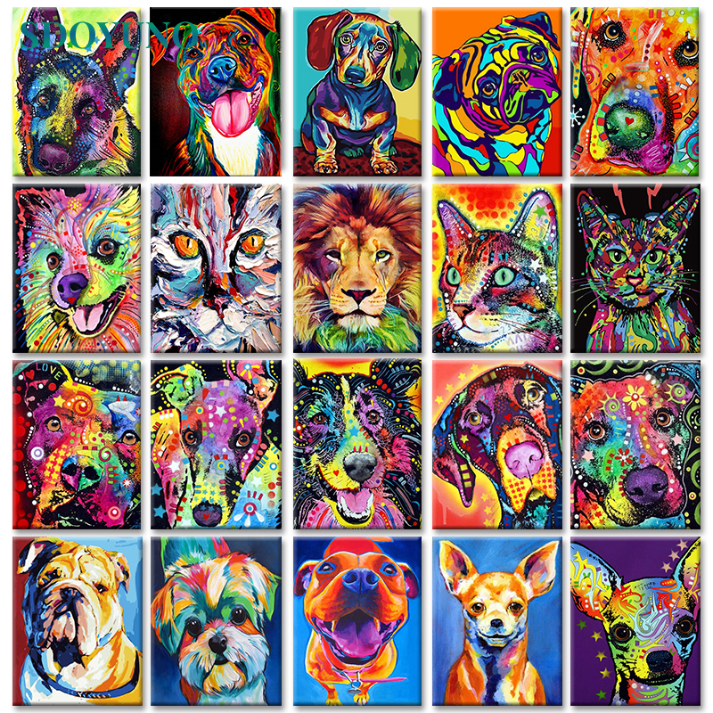 SDOYUNO 40x50cm Pop Style Frameless DIY Painting By Numbers Colorful Dog Pictures By Numbers On Canvas Animals Home Decoration