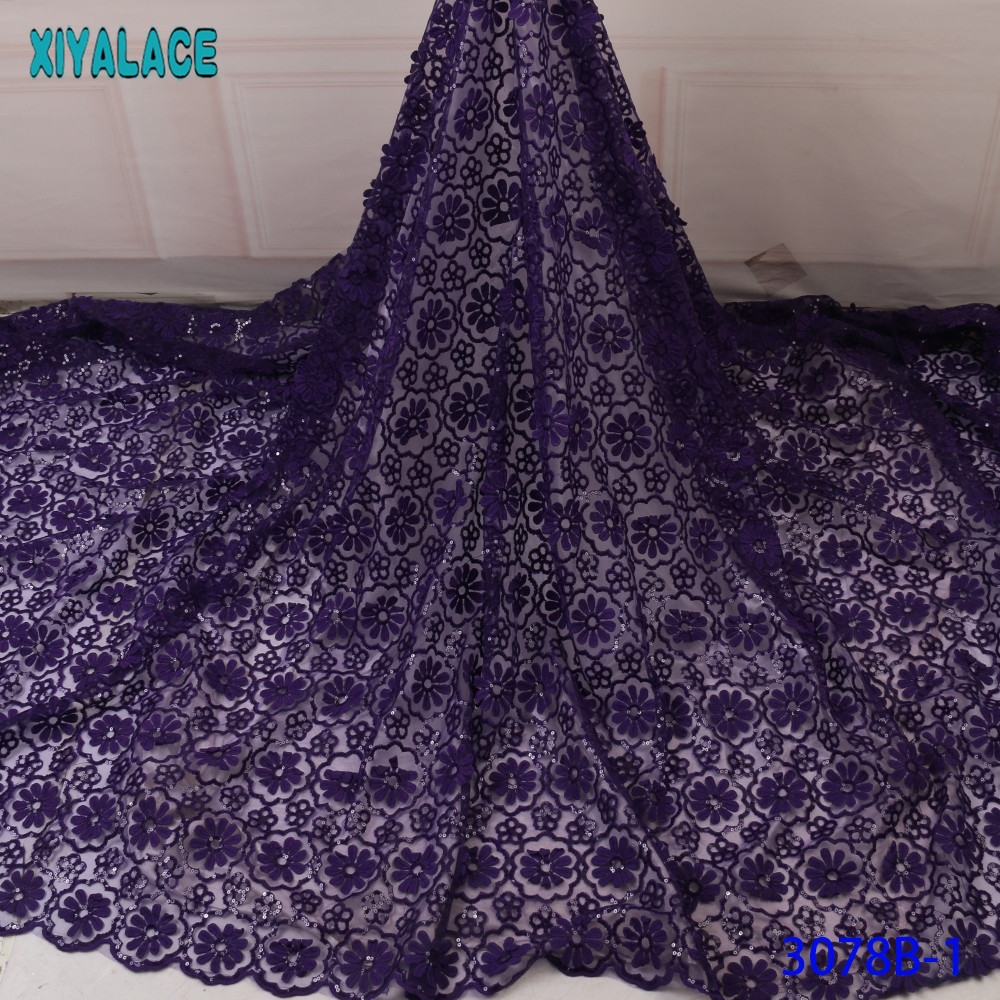 High Quality French Mesh Lace Fabric African Lace Fabric 2019 Nigerian Laces Fabrics With Sequins For Dresses KS3078B