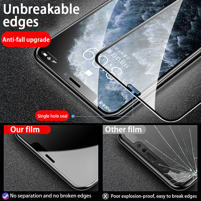 3PCS Full Cover Protective glass on For iPhone 11 12 Pro Max tempered Glass Film iPhone X XR XS Max Screen Protector Curved Edge 4