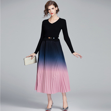 Korean Women Dress Elegant V-Neck Knitted Dresses
