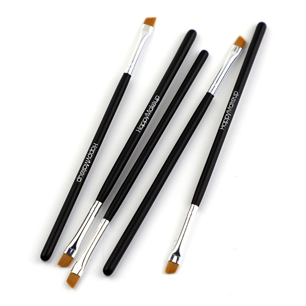 Happy Makeup 5Pcs Black Eyebrow Inclined Flat Angled Brush Eyeliner Eyeshadow Eye Brow Makeup Tool Professional Women Cosmetic