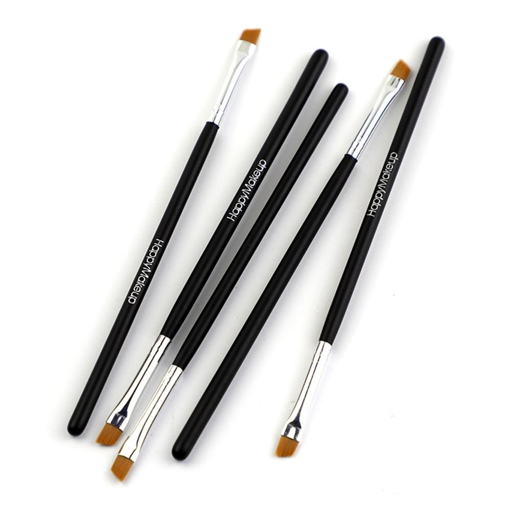 Happy Makeup 5Pcs Black Eyebrow Inclined Flat Angled Brush Eyeliner Eyeshadow Eye Brow Makeup Tool Professional Women Cosmetic