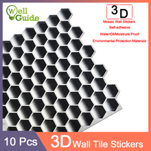 3D WallSticker 10pcs Marble mosaic Brick Self-Adhesive Waterproof Wall paper for Kitchen Bathroom DIY Home Stickers
