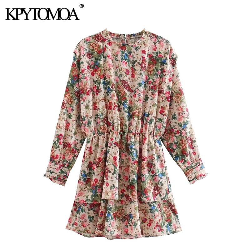 KPYTOMOA Women 2020 Chic Fashion Floral Print Ruffled Mini Dress Vintage O Neck Long Sleeve Female Dresses Vestidos Mujer