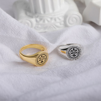 Aesthetic Rings For Women Vintage Stainless Steel Sun Face Punk Couple Ring Fashion Exaggeration Jewelry Gothic Accessories Gift