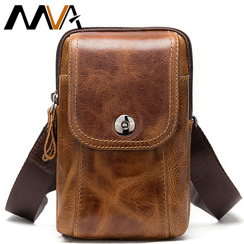 MVA Men's Genuine Leather Waist Bags Mens Belt Bag Male Fanny Pack Man Waist Packs For Phone Multifunction Men's Fanny Bag 8956