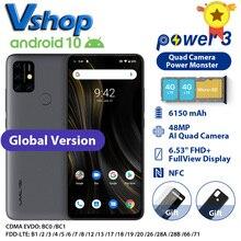 "Umidigi power 3 4gb + 64gb android 10, 48mp quad ai câmera 6150mah 6.53 ""fhd + helio p60 smartphone versão global 4gb 64gb, nfc"