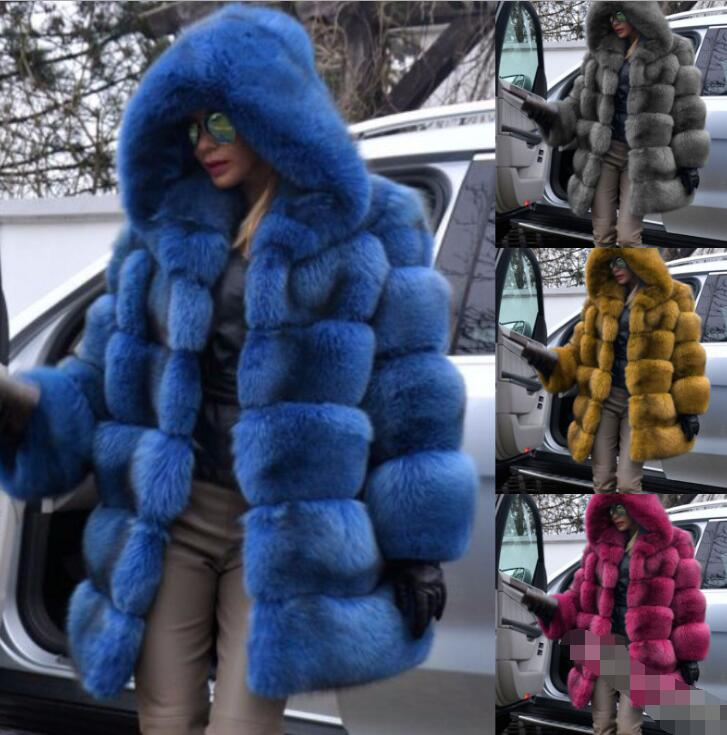 Winter Faux Fur Coat New Fashion Overcoat Woman Medium Style Stand Collar Fox Fur Loose Imitation Fur Jackets Plus Size S-4XL