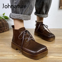 Johnature Square Toe buty na platformie oryginalne skórzane buty damskie 2021 nowa Retro szerokość sznurowane ręcznie specjalne buty damskie do kostki