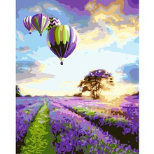Purple Lavender Hot Air Balloon Painting By Numbers Oil On Canvas Handmade Digital Acrylic Wall Art Landscape Paintings