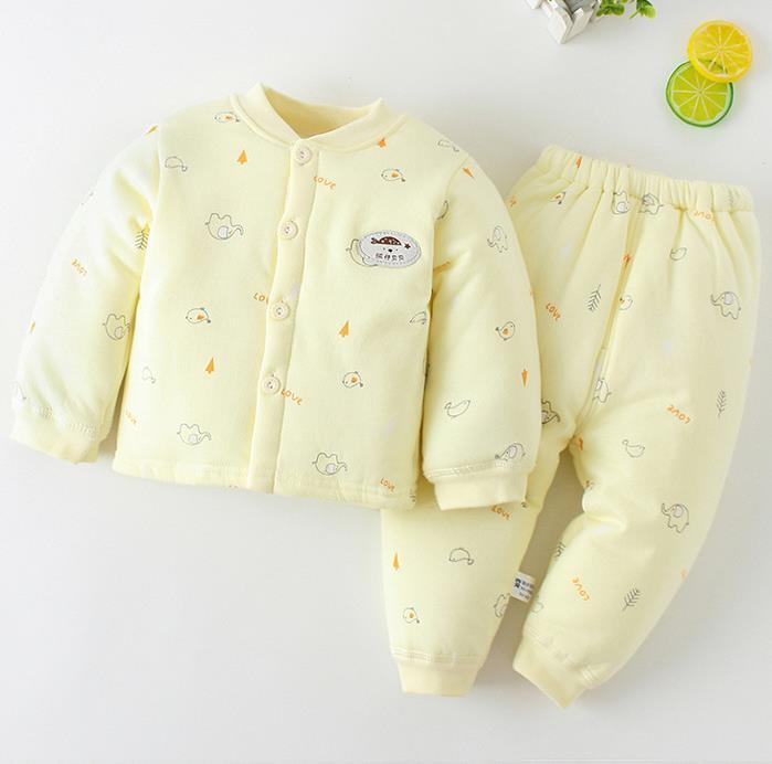 Children's autumn underwear set baby long johns child cotton clip cotton baby warm thickening two-piece set autumn and winter