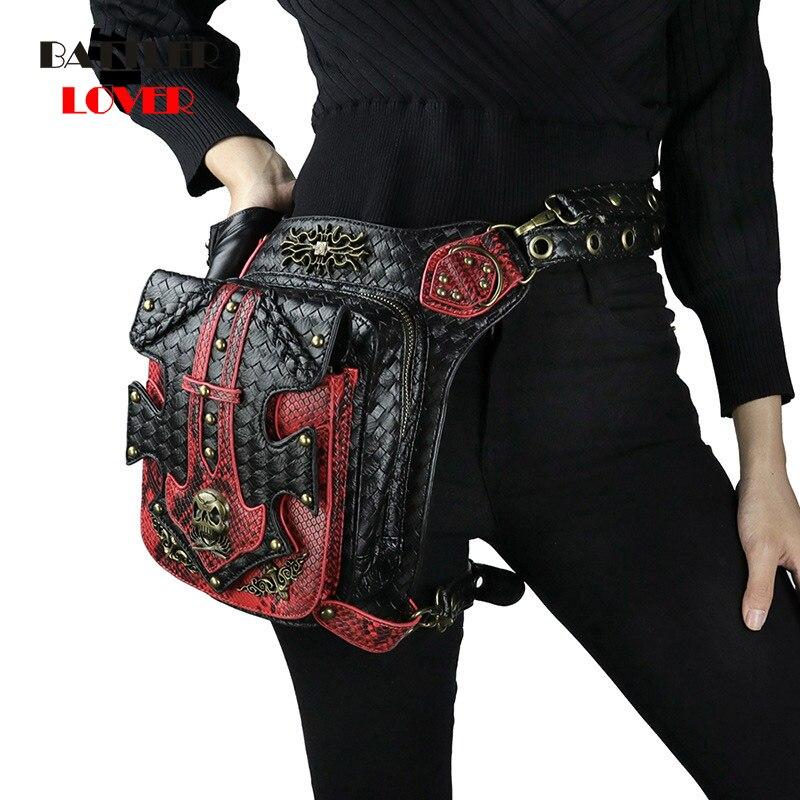 Womens Steampunk Bags Gothic Skull Messenger Handbag Men's Shoulder Bag Vintage Fashion Retro Rock Waist Pack Small Leg Bag 2019