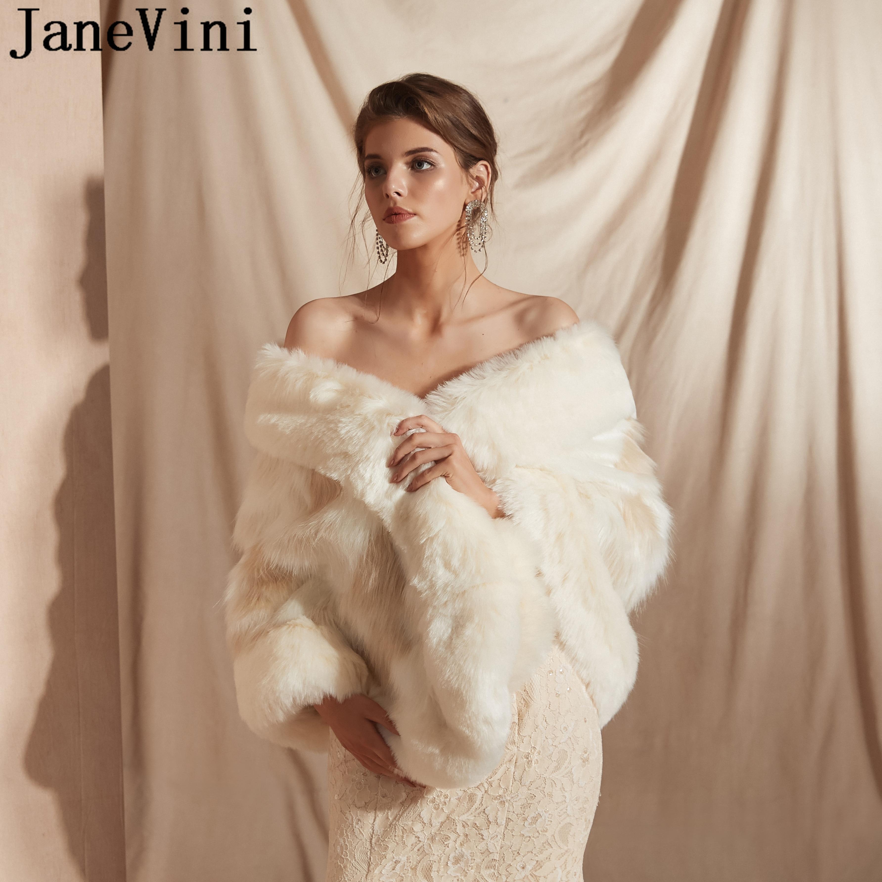 JaneVini, свадебная шаль, искусственный мех, накидка, вечернее платье, болеро, свадебное меховое пальто, палантин, женские кейпы, болеро, Etole, шика