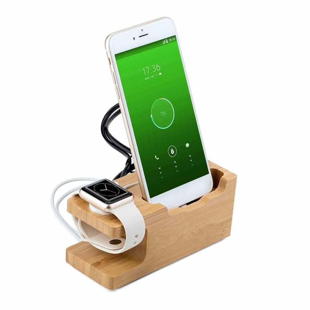 Para iPhone para Apple Watch bambú carga Dock cargador estación soporte de escritorio para Apple Watch con 3 puertos USB + pen