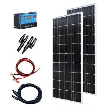 XINPUGUANG 200w solar kit system plate 2 pcs 100 watt 18v Glass solar panel modul mit pv stecker für dach auto caravan home 1
