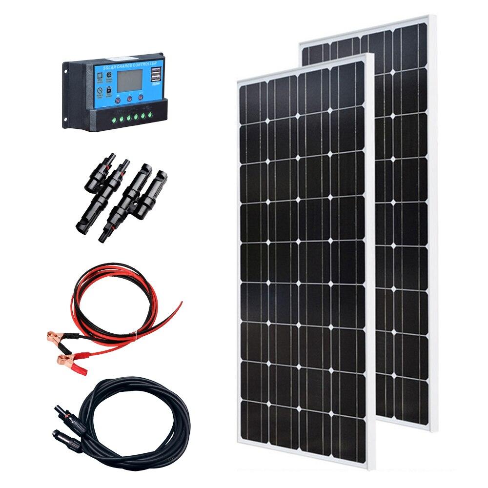 XINPUGUANG 200w Solar Kit System 2 Pcs 100w 18v Glass Solar Panel Modul Mit Pv Stecker Für Dach Auto Caravan Home