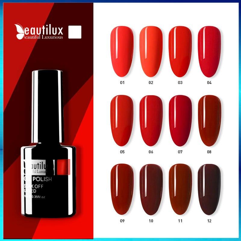 Beautilux 1 шт. винная вишня Бордовый Красный Цвет Гель-лак для ногтей Впитывается УФ; Светодиоды; Ногти гели для нейл-арта лак для ногтей 10 мл