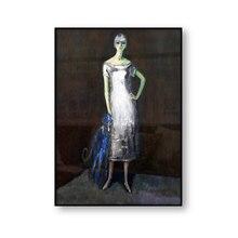 Peinture sur toile murale Le chien bleu, Portrait de Mlle Dumarest Kees van Dongen, affiche Vintage, décoration de la maison
