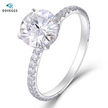 купить DovEggs Romantic 14K white gold 3ct Cusion Cut EF color white Moissanite diamond jewelry ring for woman wedding engagement gift дешево