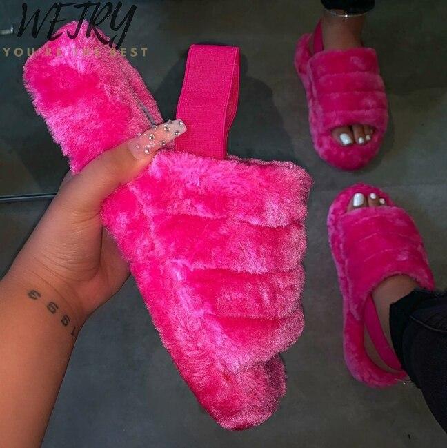 2020  New Women Spring Plush Slippers Flat Bottom Antiskid Indoor All-around Comfortable Sandals Outdoor Leisure Sandals