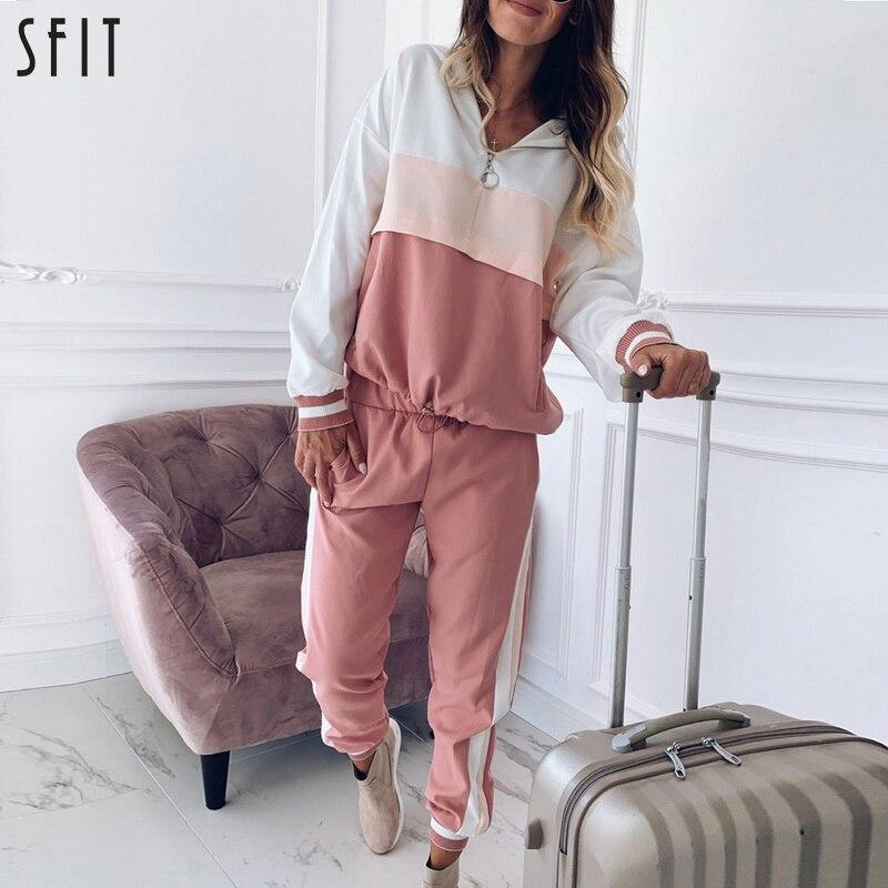 SFIT Pink Patchwork Two Piece Set Outfit Women 2020 Autumn Hooded  Jacket Set Ladies Joggers Set Loose Hoodies Set