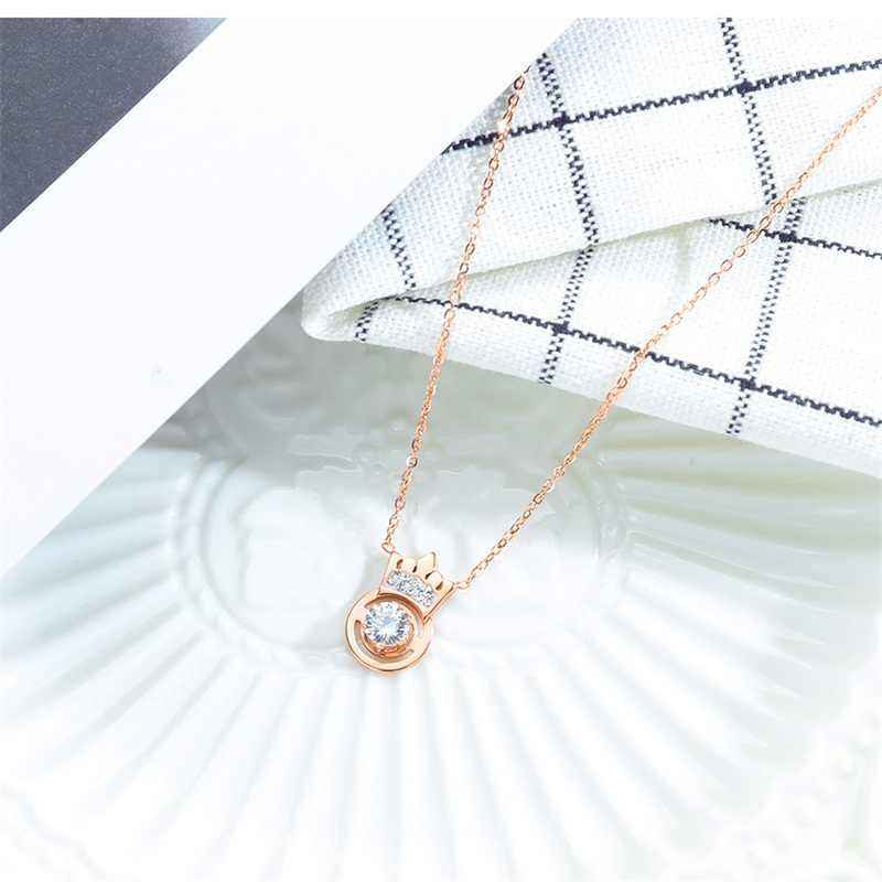 AZIZ BEKKAOUI Rose Gold Crown คริสตัลจี้สร้อยคอสแตนเลสสร้อยคอ Eternal Love เครื่องประดับสำหรับคนรักของขวัญ Dropshipping
