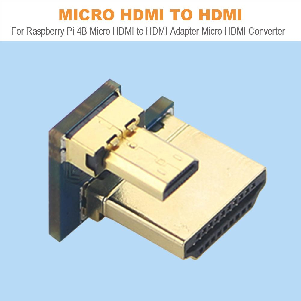 For Raspberry Pi 4B Micro HDMI To HDMI Adaptergold-plated Plug And Play High Quality Micro HDMI Converter For Raspberry Pi 4B