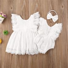 2020 yeni yaz yürüyor çocuk bebek kız giysileri kardeş eşleşen kıyafetler dantel Tutu Romper tulum/çiçek elbise Sundress seti