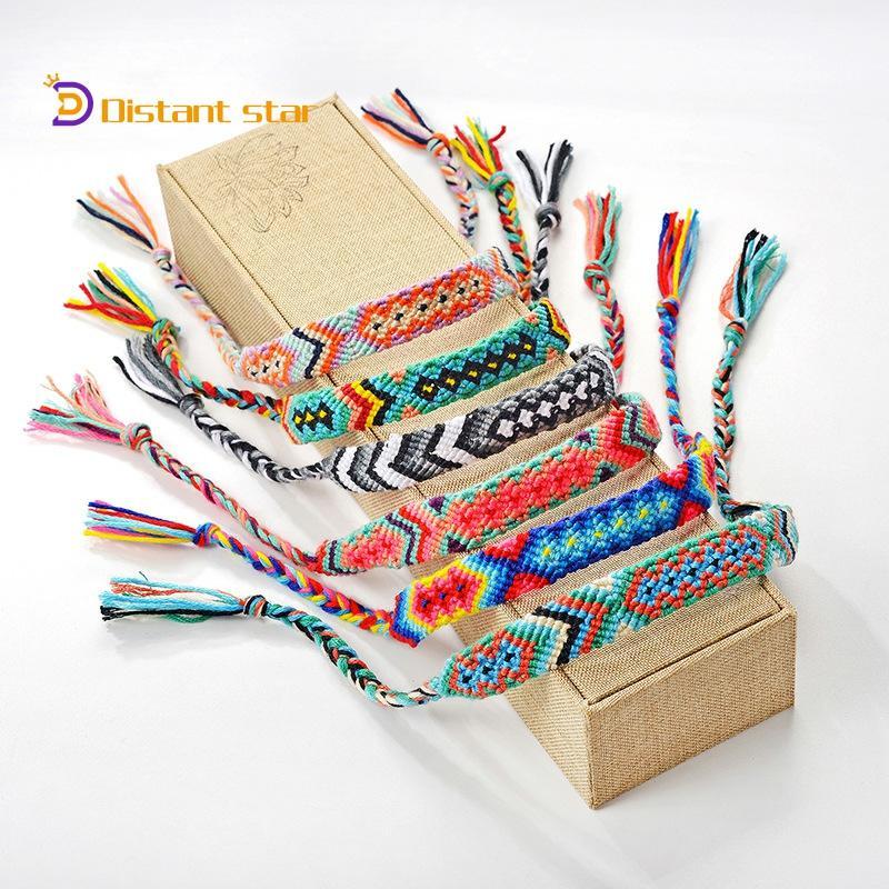 2020 Bohemia Style Friendship lucky Bracelet Charm Vintage Handmade Braided Cotton Bracelet Ethnic Weave Rope Jewelry Gifts