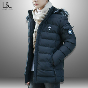 2019 New Fashion Parka New Men's Winter Hooded Jacket Thick Wadded Male Coat Warm Fur Collar Zipper Pocket Casual Solid Overcoat