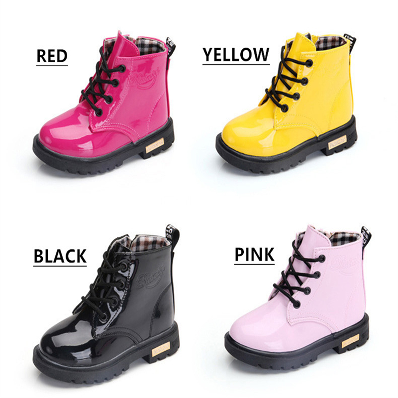 NEW 2020 Girls Leather Boots Boys Shoes Spring Autumn PU Leather Children Boots Fashion Toddler Kids Boots Warm Winter Boots 3BB 3