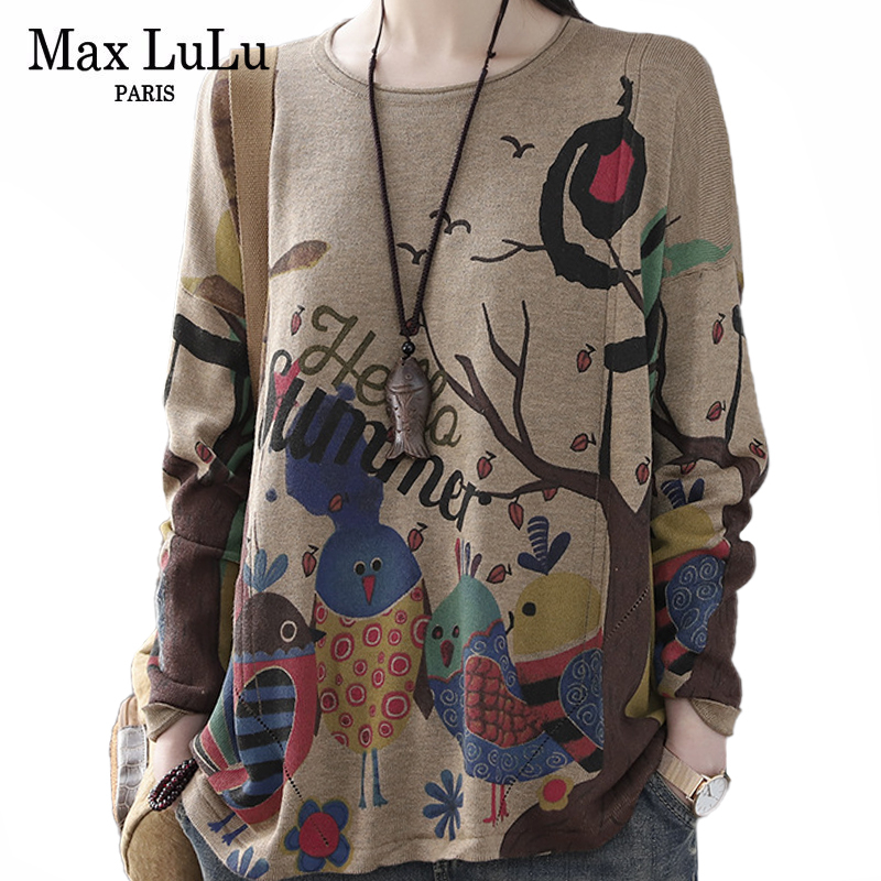 Max LuLu New 2020 British Fashion Ladies Spring Printed Sweater Women Casual Knitted Streetwear Jumpers Vintage Loose Pullovers