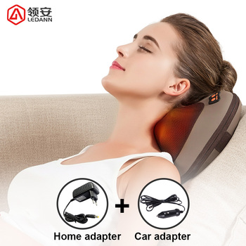 LEDANN Vibration Kneading Neck Body Massager Hammer Pillow Heating Shiatsu Electric Car/Home Dual-use Device