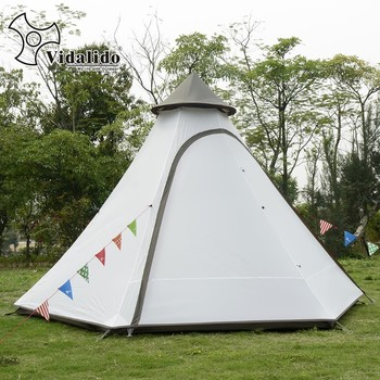 New Pyramid Indian camping tent 4-6 person outdoor family yurt Ultra-light double layer driving filed tent fireproof material